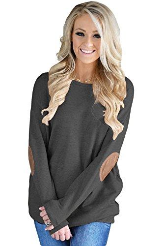 WAZZIT Women's Loose Long Sleeve Crewneck Solid Color Sweatshirt Tunic Tops ()