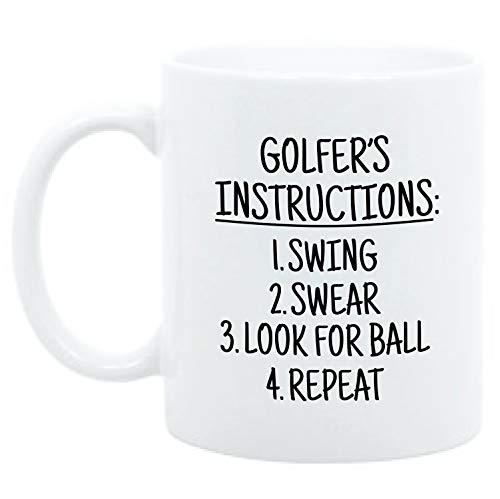 Moonwake Designs - Golfer's Instructions Mug, Funny 11oz Golf Mug, Gift for Golfer, Golf Gifts for Men, Golf Gifts for Men
