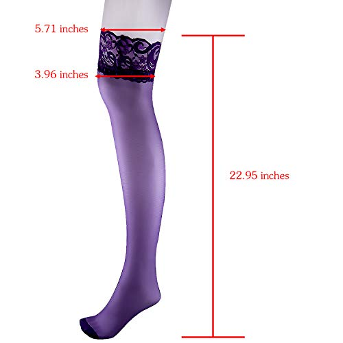 Duufin 11 Pairs Thigh High Stockings Lace Thigh High Socks Top Lace Stockings Sheer Thigh High Stock - http://coolthings.us