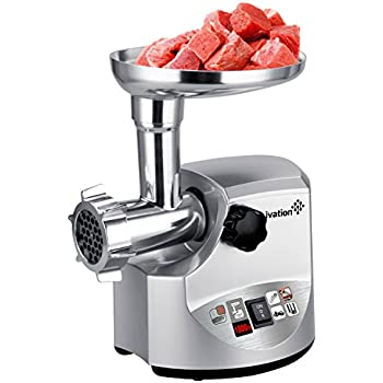 Ivation 1800 Watt Electric Meat Grinder Mincer, Sausage Maker/Heavy Duty with 3 pcs Stainless Steel Cutting Blades, Kibbe Attachment & Sausage Stuffing Tubes