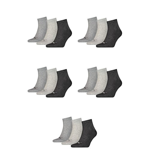 15 pair Puma Sneaker Quarter Socks Unisex Mens & Ladies 800 - anthraci/l mel grey/m me