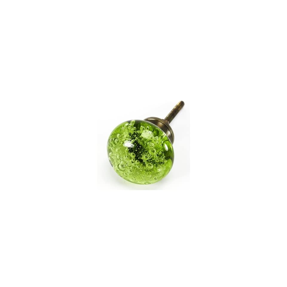 Bubble Glass Cabinet Knobs, Kitchen Drawer Pulls & Handles Set/2pc ~ K167 Green Classic and Contemporary Style Polished Glass Knobs for Cabinets, Dresser, Kitchen Cabinets and Cupboards