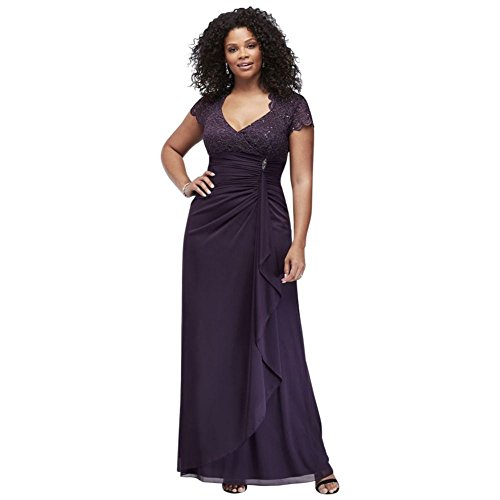 Gathered Jersey Plus Size Mother of Bride/Groom Dress with Lace Bodice Style A18436W, Plum, 18W