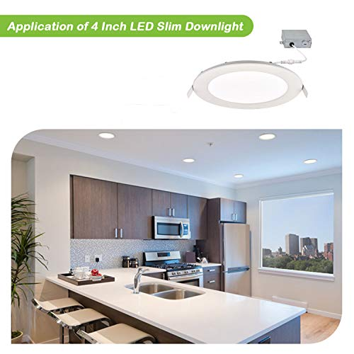 Hykolity 12W 4 Inch LED Slim Recessed Ceiling Light, 720lm, CRI90, 4000K Neutral White, Low Profile Downlight with Juction Box Dimmable, ETL& Energy Star Listed by hykolity (Image #6)
