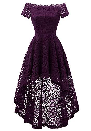Dressystar 0042 Lace Off Shoulder Cocktail Hi-Lo Bridesmaid Swing Dress Grape XL