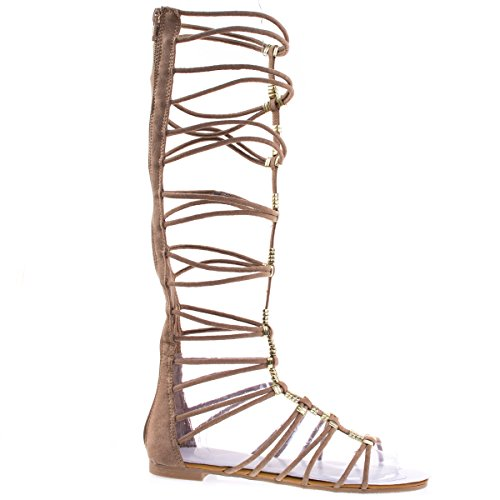 Magical13S Camel Gladiator Flat Open Toe Strappy Sandal, Roman / Greek Goddess Shoes. -8.5 (Greek Goddess Sandals)