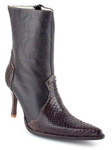 Zapato De Arranque De Cuero De Lujo De Las Mujeres Python Zapato Tacón Alto Marrón