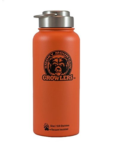 Smoky Mountain Growlers Stainless Steel Water Bottle Growler All-in-One 32 Ounce (Orange)