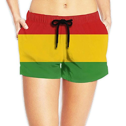 vaepinopes Reggae Rasta Flag Women's Boardshorts Beach Short Swim Trunks Brief with Adjustable Ties by vaepinopes