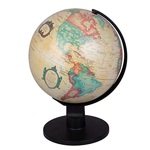 "World Globe - Antique Desktop 6"" Spinning Globe for Kids and Geography Lovers - Vintage Shading with Plastic Base"