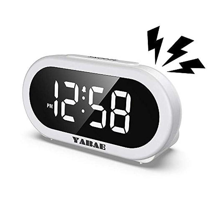 YABAE 자명종 탁상시계 대음량 LED 디지탈 알람 clock 《스누즈》기능 밝기 조정 멋쟁이 콘센트식 화이트 AL-01