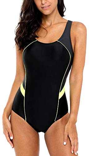 BeautyIn Womens One Piece Swimsuits conservative ladies swimming suit Black XL