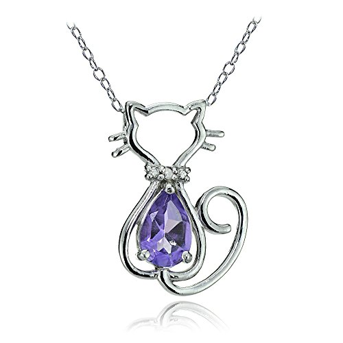 Sterling Silver Amethyst & Diamond Accent Filigree Cat Slide - Silver Genuine Amethyst Slide Sterling