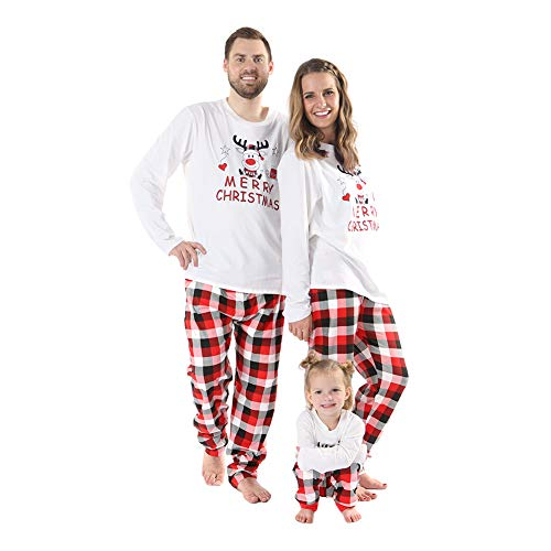 Gyrategirl Family Matching Christmas Pyjama Sets, Cute Classic Red Plaid Xmas PJs for The Whole Family