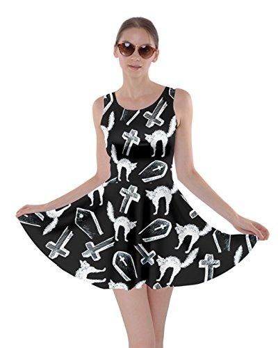CowCow Womens Witch's Cat Halloween Bats Skater Dress, Black - S -