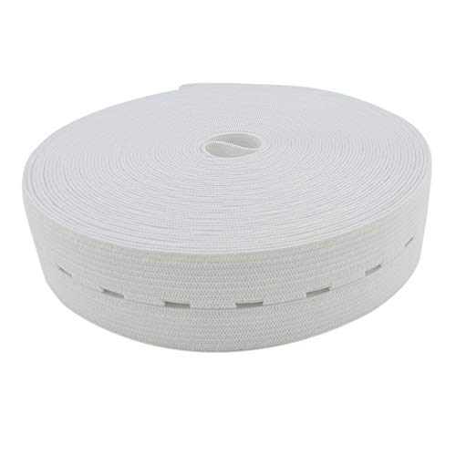 Buttonhole Elastic Band White 1-1/5 Inch Wide Elastic Bands Stretch Knitting Elastic Spool Adjustable Elastic Band for Sewing 32 Yard