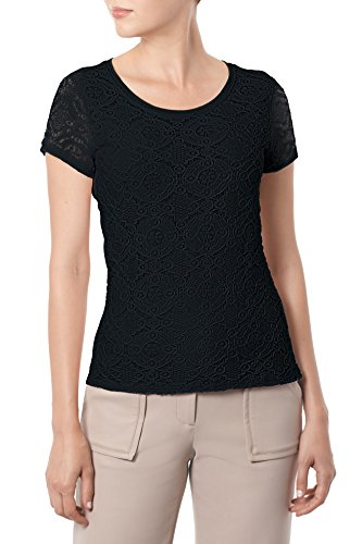 89th&Madison Women's Lace Top With Cap Sleeves