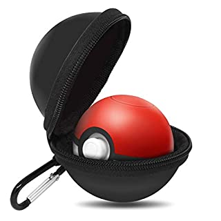 Portable Carrying Case for Nintendo Poke Ball Plus Switch Controller, Accessory for Pokémon Lets Go Pikachu Eevee Game for Nintendo Switch, Red & White