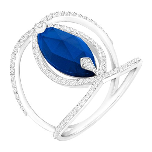 Marquise-Cut Created Sapphire and Cubic Zirconia Negative Space Ring in Sterling Silver