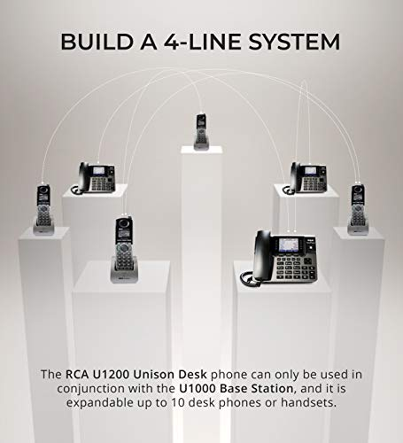 RCA U1000 Unison 4-Line Expandable Phone System - Full-Duplex Speakerphone Bundle with RCA U1200 DECT 6.0 Cordless Accessory Handsets (4-Pack) and 6 Blucoil AAA Batteries by blucoil (Image #1)
