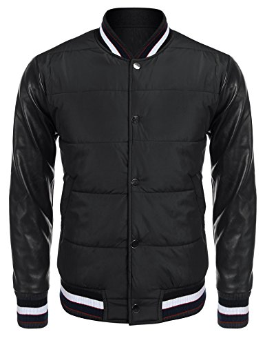 Leather Baseball Jacket (JINIDU Mens Fashion Varsity Baseball Bomber Leather Sleeves Jacket for Fall,Winter)