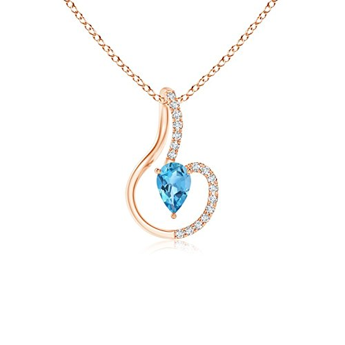 Pendant Diamond Blue Aa Topaz - Inverted Pear Swiss Blue Topaz Solitaire Pendant with Diamonds in 14K Rose Gold (6x4mm Swiss Blue Topaz)
