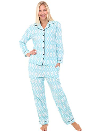 Alexander Del Rossa Womens Flannel Pajamas, Long Cotton Pj Set, Large Light Blue Argyle with Midnight Blue Piping ()