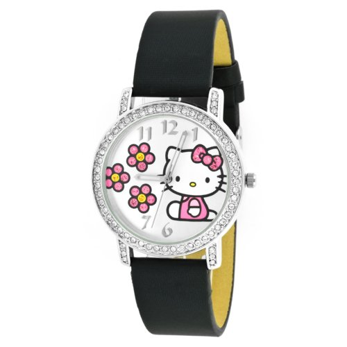 Hello Kitty Woman's HK1518 Black Leather Strap Character Watch
