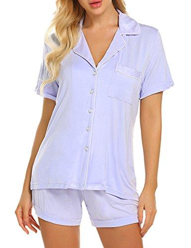 67c1a89b5cb Ekouaer Plus Size Pajama Set Ladies Soft 2 Piece Sleepwear Buttons Short  Loungewear Set (Violet