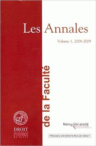Livres Les Annales de la Faculté de droit, sciences économiques et gestion de Nancy : Volume 1, 2008-2009 epub pdf