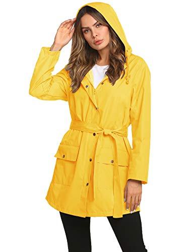 - ZHENWEI Zip Rain Jacket Women Junior Gardening Camping Coat Yellow XXL