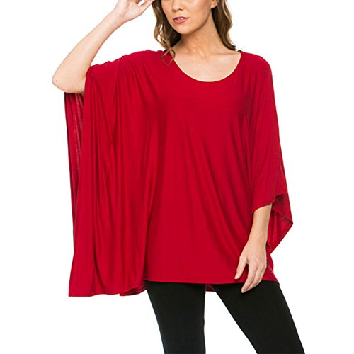 JYUAN Womens Summer Casual Flared Solid Poncho Tunic Top Plus Size (XXL, Red) (Plus Size Poncho)