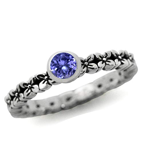 Silvershake Genuine Tanzanite 925 Sterling Silver Flower Stack Stackable Ring Size 6