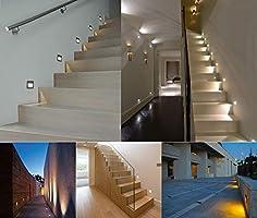 8pcs LED Escaleras Aluminio 230 V 3 W Cristal apliques luz ...