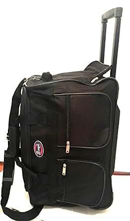 20 black wheeled duffle bag w locking retractable handle travel gym bag tote. Black Bedroom Furniture Sets. Home Design Ideas
