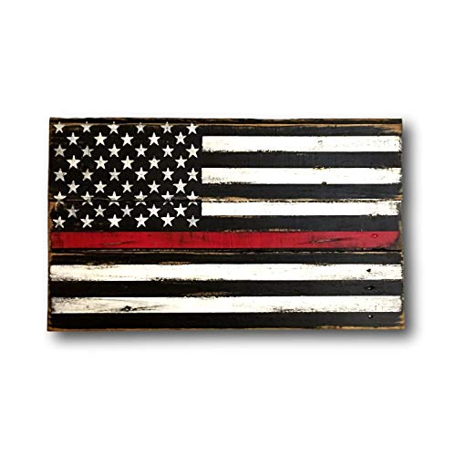Onepicebest Thin Red Line Wood Flag - Firefighter Gift - Wood Firefighter Flag - Fireman Gift - Fire Academy Gift - Firefighter Decor - Firefighter Sign