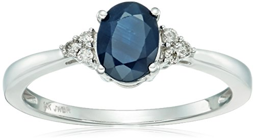 14k White Gold Genuine Sapphire Oval with White Diamond Accent Ring, Size 7
