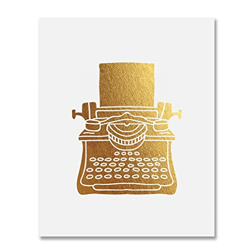 Typewriter Gold Foil Print Office Wall Art Writer Author Gift Vintage Poster Home Workplace Desk Decor 5 inches x 7 inches B46