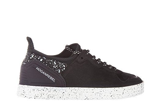 Hogan Rebel chaussures baskets sneakers homme en cuir r141 elastico low granito