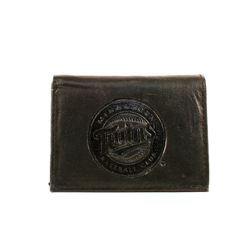 (MLB Minnesota Twins Tri-Fold Leather Wallet, Black)