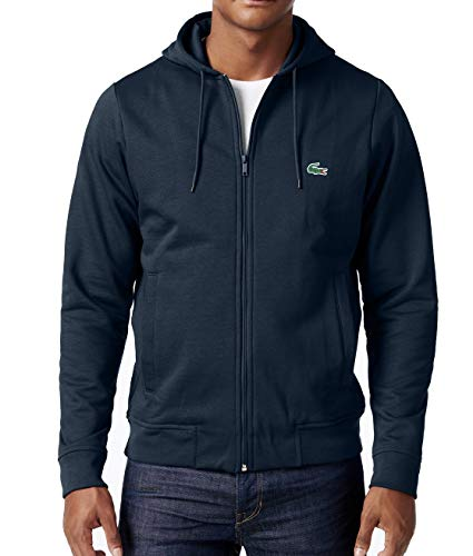 Lacoste Mens Sweater Navy Drawstring Full Zip Hooded Blue XL (Cardigan Sweater Lacoste Mens)