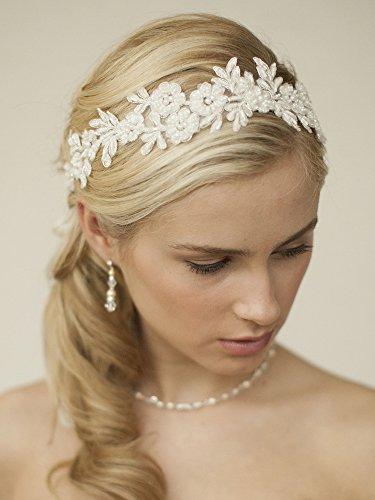 - Mariell Handmade Designer Bridal Headband - Ivory Beaded Lace Applique Headpiece