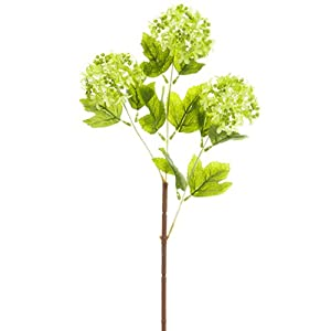 "24.5"" Silk Snowball Flower Spray -Green (Pack of 12) 93"