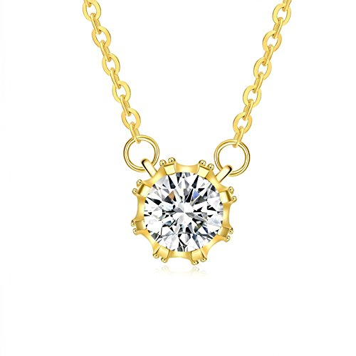 Female Jigsaw Costume (Beydodo Gold Plated Womens Necklace Round Pendant Round White Crystal Adjustable Chain(18in + 2in))