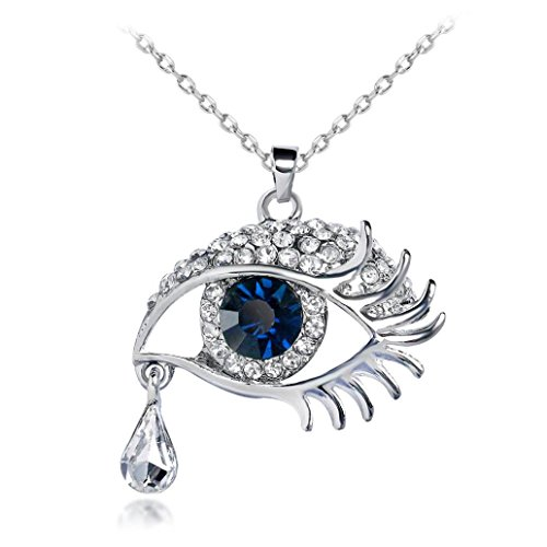Faux Hematite Necklace (Ulifeshop Valentine's Day Eye Crystal Tear Drop Necklace Evil Eye Teardrop Necklace Rhinestone Oval Angel's Tears Necklace Bead Eye Shape Design Pendant (Blue))