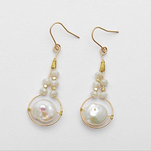 Women Trendy Pearl pendant earrings Simple personality Beaded earrings Pure handmade gift ()