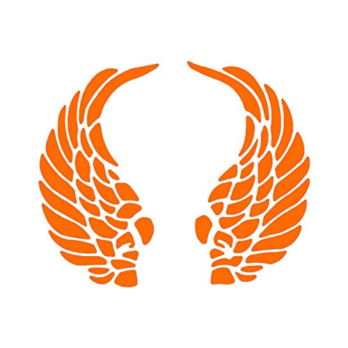 "Curled Angel Wings - Vinyl Decal Sticker - 7"" x 5.75"" - Orange"
