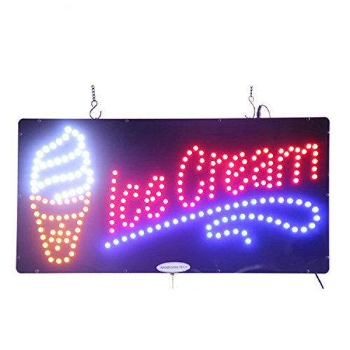 Sign Smoothies Led - LED Ice Cream Open Light Sign Super Bright Electric Advertising Display Board for Gelatos Smoothies Milkshake Shop Store Window Bedroom Decor (19 x 10 inches)