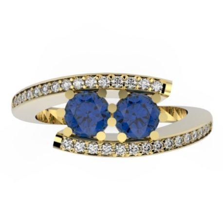 HABY DUO P Bagues Or Jaune 18 carats Saphir Bleu 1,2 Rond