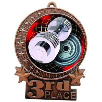エクスプレスメダル ラージ 3インチ ウェイトリフティング 3位 メダル ブロンズ 3行の刻印 首リボントロフィー XMD B07KVP59P1  1